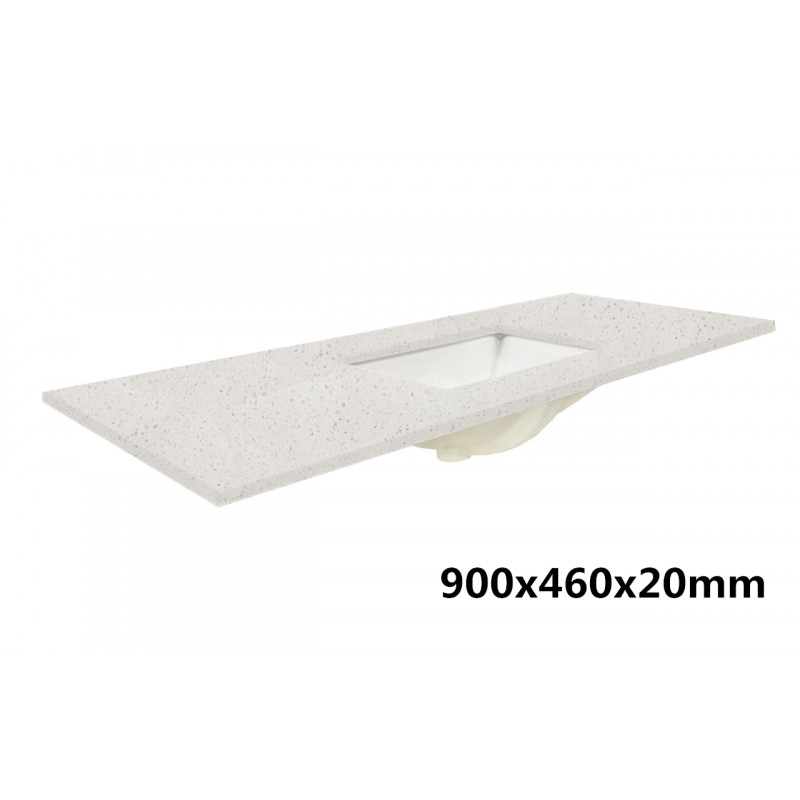 20/40mm Thick Luna White Speckle Stone Top with Single Double Undermount Basins