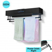 Bathroom Black Intelligent Timer UV Sterilizer Heated Towel Dryer Towel Warmer with Rails Right Power Inlet