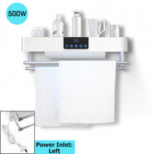 Bathroom White Intelligent Timer UV Sterilizer Heated Towel Dryer Towel Warmer with Rails Left Power Inlet
