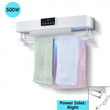 Bathroom White Intelligent Timer UV Sterilizer Heated Towel Dryer Towel Warmer with Rails Right Power Inlet
