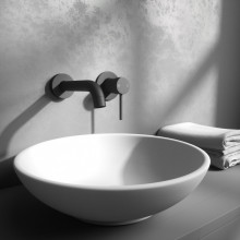 Euro Matt Black Solid Brass Wall Tap Set with Mixer for Bathtub and Basin