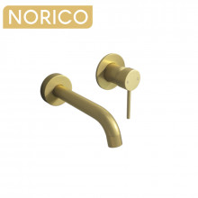 Norico Brushed Yellow Gold Solid Brass Wall Tap Set with Mixer for Bathtub and Basin