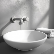 Norico Brushed Nickel Solid Brass Wall Tap Set with Mixer for Bathtub and Basin