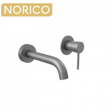 Norico Gunmetal Grey Solid Brass Wall Tap Set with Mixer for Bathtub and Basin