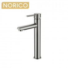 Norico Round Solid Brass Brushed Nickel Tall Basin Mixer Bathroom Vanity Tap