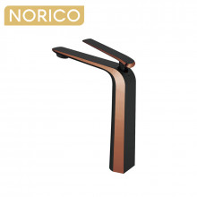 Norico Esperia Matt Black & Rose Gold Solid Brass Tall Basin Mixer