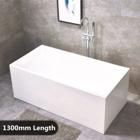 1300x730x580mm Theo Bathtub Multi fit Corner Back to Wall Freestanding Acrylic Gloss White Bath tub NO Overflow