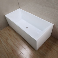 1700x730x580mm Theo Bathtub Multi fit Corner Back to Wall Freestanding Acrylic Gloss White Bath tub NO Overflow