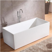 1500x700x580mm Theo Bathtub Multi fit Corner Back to Wall Freestanding Acrylic Matt White Bath tub NO Overflow