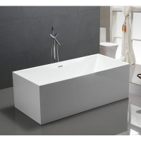 1400x700x560mm Theo Bathtub with Overflow Multi fit Corner Back to Wall Freestanding Acrylic Gloss White Bath tub