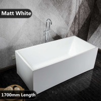 1700x730x580mm Theo Bathtub Multi fit Corner Back to Wall Freestanding Acrylic Matt White Bath tub NO Overflow