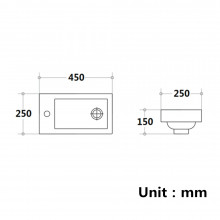 450x250x150mm Poly Top for Bathroom Vanity Single Bowl 1 Tap hole