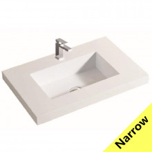 600x370x140mm Narrow Poly Top for Bathroom Vanity Single Bowl 1 Tap hole