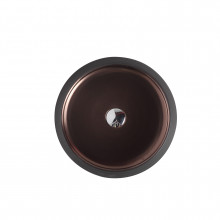 410x410x140mm Round Art Black & Copper Above Counter Basin Counter Top
