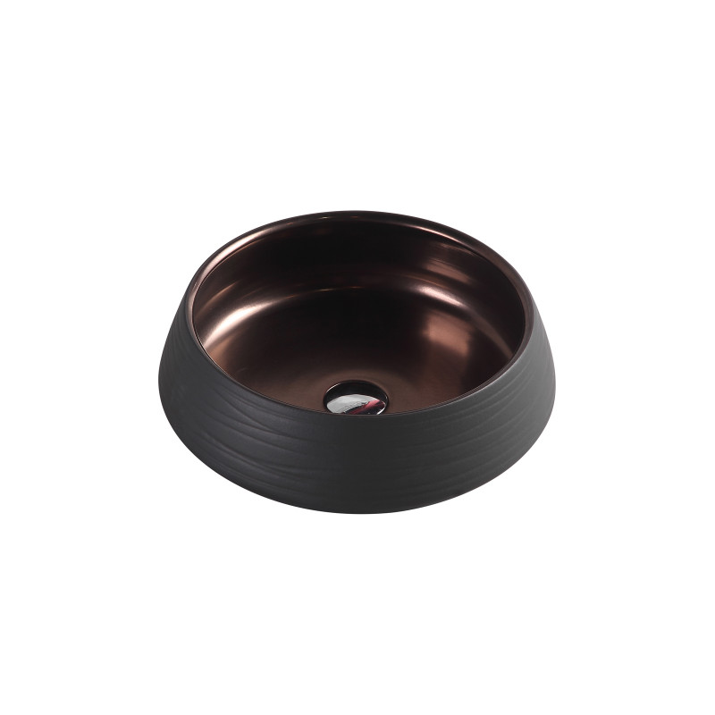 410x410x140mm round art black & copper above counter basin counter top un-tr-75-bk