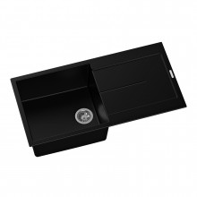 1000x500x200mm Carysil Black Single Bowl With Drainer Board Granite Kitchen Sink Top Mount