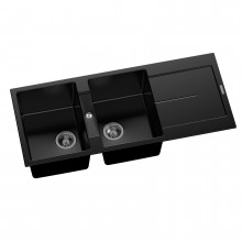 1160x500x200mm Carysil Black Double Bowl with Drainer Board Granite Kitchen Sink Top Mount