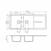 1160x500x200mm Carysil White Double Bowls with Drainer Board Granite Kitchen Sink Top Mount
