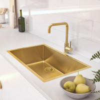 600x450x230mm Brushed Gold PVD 1.2mm Handmade Top/Undermount Single Bowl Kitchen Sink Stainless Steel 304