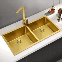 770x450x215mm Brushed Gold PVD 1.2mm Handmade Top/Undermount Double Bowls Kitchen Sink