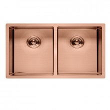 770x450x215mm Rose Gold PVD 1.2mm Handmade Top/Undermount Double Bowls Kitchen Sink