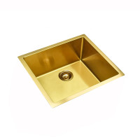 440x440x205mm Brushed Gold PVD Stainless Steel Handmade Single Bowl Kitchen Sink Top/Undermount
