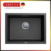 610x457x205mm Carysil Black Single Big Bowl Granite Kitchen/Laundry Sink Top/Flush/Under Mount