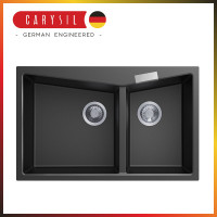 800x500x220mm Carysil Black Double Bowl Granite Kitchen Sink Top/Flush Mount