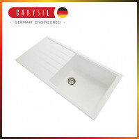 1000x500x220mm Carysil White Single Bowl With Drainer Board Granite Kitchen Sink Top/Flush/Under Mount