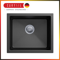 533x457x205mm Carysil Black Single Bowl Granite Kitchen/Laundry Sink Top/Flush/Under Mount
