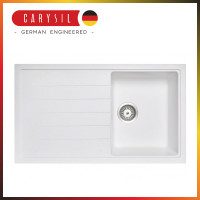 860x500x205mm Carysil White Single Bowl With Drainer Board Granite Kitchen Sink Top/Flush/Under Mount