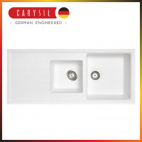 1160x500x205mm Carysil White 1 and A Half  Bowl With Drainer Board Granite Kitchen Sink Top/Flush/Under Mount