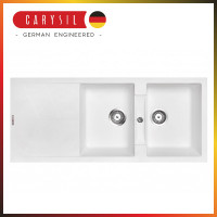 1160x500x210mm Carysil White Double Bowl Drainer Board Granite Kitchen Sink Top/Flush/Under Mount
