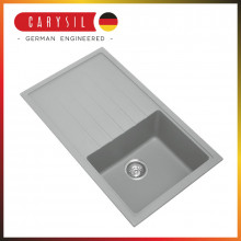 860x500x205mm Carysil Concrete Grey Single Bowl With Drainer Board Granite Kitchen Laundry Sink Top/Flush/Under Mount