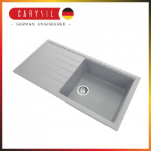1000x500x220mm Carysil Concrete Grey Single Bowl With Drainer Board Granite Kitchen Laundry Sink Top/Flush/Under Mount