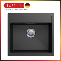 560x510x200mm Carysil Black Single Bowl Granite Top/Flush/Under Mount Kitchen/Laundry Sink