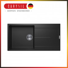 1000x500x200mm Carysil Black Single Bowl With Drainer Board Granite Kitchen Laundry Sink Top Mount