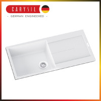 1000x500x200mm Carysil White Single Bowl With Drainer Board Granite Kitchen Sink Top Mount