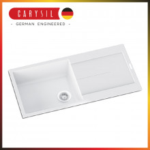 1000x500x200mm Carysil White Single Bowl With Drainer Board Granite Kitchen Laundry Sink Top Mount
