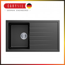 860x500x205mm Carysil Black Single Bowl With Drainer Board Granite Kitchen Laundry Sink Top/Flush/Under Mount