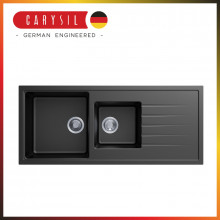 1160x500x205mm Carysil Black 1 and A Half  Bowl With Drainer Board Granite Kitchen Sink Top/Flush/Under Mount