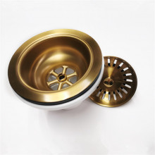 90/114mm Kitchen Sink Gold Strainer Waste Assembly Stainless Steel 304