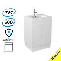 600x360x860mm Narrow Bathroom Vanity with Kickboard White Polyurethane PVC Freestanding Cabinet ONLY & Ceramic/Poly Top Available