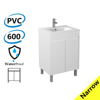 600x360x860mm Narrow Bathroom PVC Vanity Freestanding White Cabinet ONLY & Ceramic Top/Poly Top Available