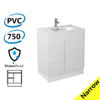 750x360x860mm Narrow Bathroom PVC Vanity Kickboard White Freestanding Left Hand Side Drawers Cabinet ONLY & Ceramic/Poly top Available