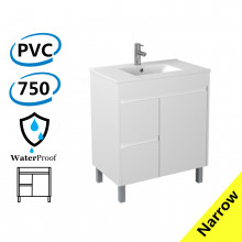 750x360x860mm Narrow Bathroom PVC Vanity Freestanding White Polyurethane Left Side Drawers Cabinet ONLY & Ceramic/Poly Top Available