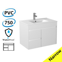750x360x525mm Narrow Bathroom Floating Vanity Wall Hung Left Side Drawers PVC White Cabinet ONLY & Ceramic/Poly Top Available