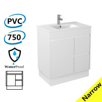 750x360x860mm Narrow Bathroom Vanity Freestanding Kick-board White PVC Right Hand Side Drawers Cabinet ONLY & Ceramic/Poly Top Available