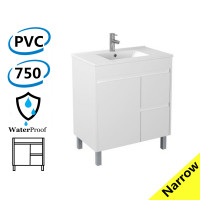 750x360x860mm Narrow Bathroom Vanity White PVC Freestanding Right Side Drawers Cabinet ONLY & Ceramic/Poly Top Available