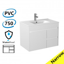 750x360x525mm Narrow Bathroom Floating Vanity Wall Hung Right Side Drawers PVC White Cabinet ONLY & Ceramic/Poly Top Available